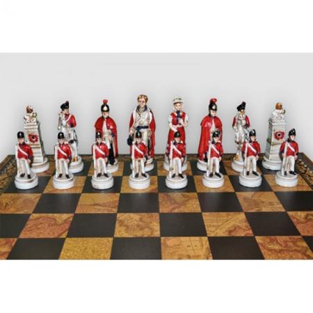 Шахматы Nigri Scacchi Битва при Ватерлоо, 48 x 48 см (полистоун, кожа) | SP23.55+CD48
