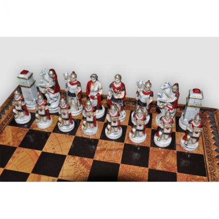 Шахматы Nigri Scacchi Бой римлян с варварами, 35 x 35 см (полистоун, кожа, поле Старинная карта) | SP34.35+CD35M