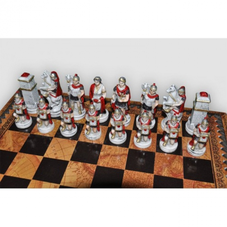 Шахматы Nigri Scacchi Бой римлян с варварами, 35 x 35 см (полистоун, кожа) | SP34.35+CD35