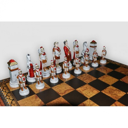 Шахматы Nigri Scacchi Бой римлян с варварами, 48 x 48 см (полистоун, кожа) | SP24.25+CD48