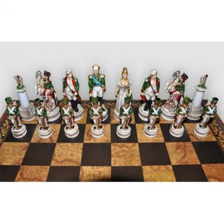 Шахматы Nigri Scacchi Бородинское сражение, 48 x 48 см (полистоун, кожа) | SP1812+CD48