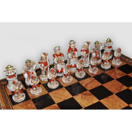 Шахматы Nigri Scacchi Империя Мин, 35 x 35 см (полистоун, кожа) | SP28+CD35