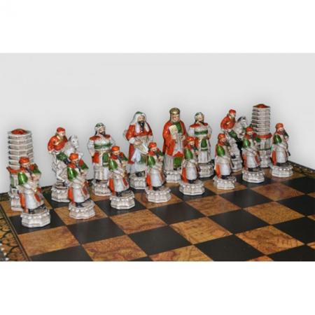 Шахматы Nigri Scacchi Китайско-монгольское завоевание, 48 x 48 см (полистоун, кожа)   SP2+CD48