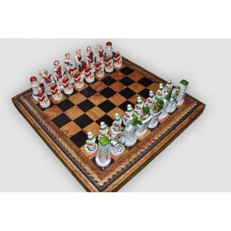 Шахматы Nigri Scacchi Клеопатра, 35 x 35 см (полистоун, кожа) | SP91+CD35
