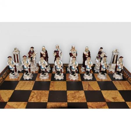 Шахматы Nigri Scacchi Людовик XIV, 48 x 48 см (полистоун, кожа) | SP47+CD48