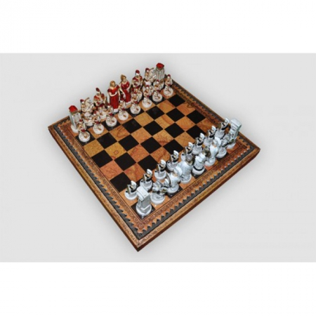 Шахматы Nigri Scacchi Троянская битва, 35 x 35 см (полистоун, кожа, поле Старинная карта) | SP69+CD35M