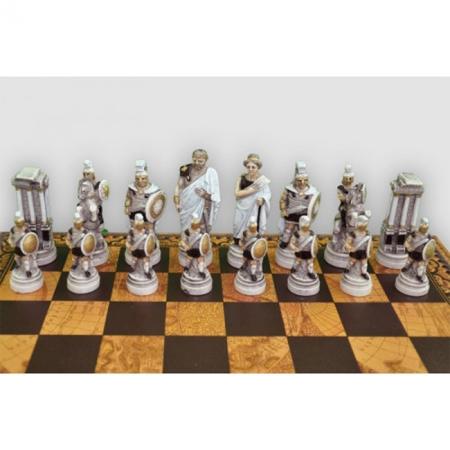 Шахматы Nigri Scacchi Троянская битва, 48 x 48 см (полистоун, кожа) | SP64+CD48