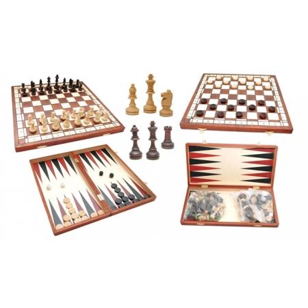 Шахматы + шашки + нарды, 40 см, Gniadek 1066