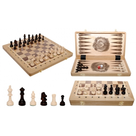 Шахматы Турнирные №4 + Нарды Intarsia, 40 см, светлыйдуб, Madon 317905 Madon