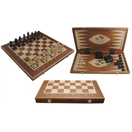 Шахматы Турнирные №5 + Нарды Intarsia, 52 см, махагон, Madon 317004 Madon