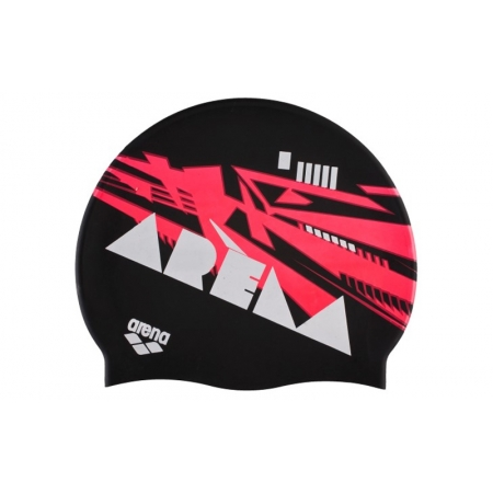 Шапочка для плавания ARENA AR-94168-16 PRINT DECO (силикон, розовоый-черный)