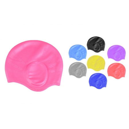 Шапочка для плавания с объемными ушками PL-2608 (силикон, цвета в ассортименте)