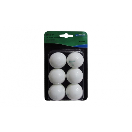 Шарики для настольного тенниса (6шт) DONIC MT-658011 ELITE 1star (пластик, d-40мм, белые)