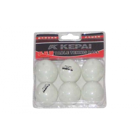 Шарики для настольного тенниса (6шт) KEPAI PP-0216 (пластик, d-40мм, белые)