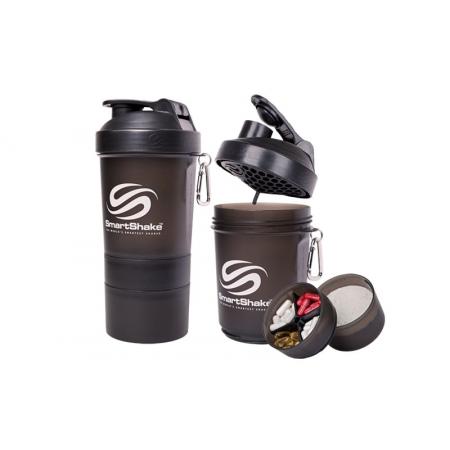 Шейкер 3-х камерный для спортивного питания SMART SHAKER ORIGINAL FI-5053-BK (400+100+100мл, черный)