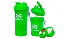 Шейкер 3-х камерный для спортивного питания SMART SHAKER ORIGINAL FI-5053-G (400+100+100мл, зеленый)