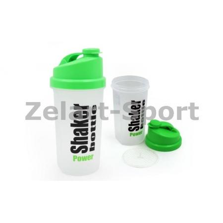Шейкер для спортивного питания FI-5055 (TS1037) (пластик, 700мл, прозрачный-салатовый)