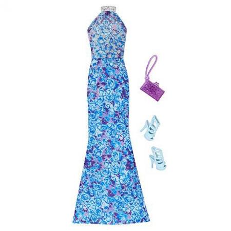 Синее длинное платье с цветочным орнаментом и аксессуары, Barbie, Mattel, синее длинное платье, CFX92-3