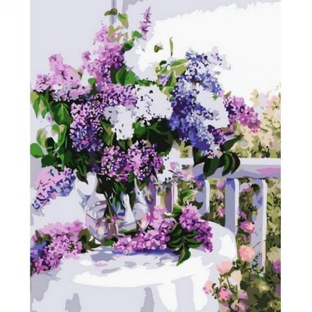Сирень в стеклянной вазе, Серия Букет, рисование по номерам, 40 х 50 см, Идейка, Букет сирени (KH1074)