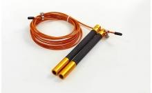 Скакалка профессиональная со стальным тросом скоростная с подшип. FI-5345-1 (l-3м, d-2,6мм, золотой)