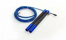Скакалка профессиональная со стальным тросом скоростная с подшип. FI-5345-3 (l-3м, d-2,6мм, синий)
