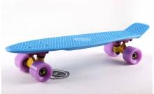 Скейтборд пластиковый Penny Original FISH 22in однотонная дека SK-401-36 (синий-желтый-фиолетовый)