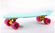 Скейтборд пластиковый Penny Original FISH 22in однотонная дека SK-401-39 (мятный-желтый-розовый)