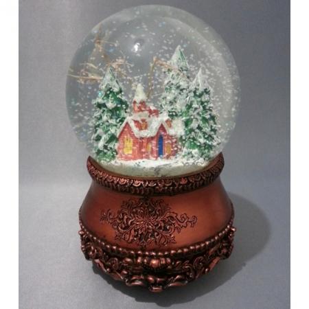 """Снежный шар (шар со снегом) """"Церквушка в бронзе"""" (стеклянный, с мелодией, D 10 см)"""