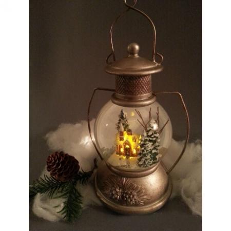 Снежный шар (шар со снегом) Керосиновая лампа (стеклянный, с подсветкой, D 10 см)