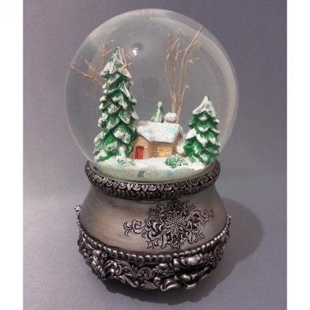 """Снежный шар (шар со снегом) """"Сторожка серебро"""" (стеклянный, с мелодией, D 10 см)"""