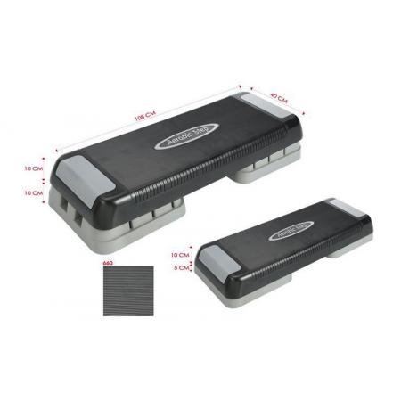Степ-платформа FI-660 (пластик, покрытие РР, р-р 108x40x10+10см, черный-серый)