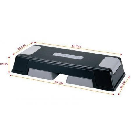 Степ-платформа FI-740 (пластик, р-р 63-70x25-28x12+5+5см, черный-серый)