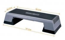 Степ-платформа FI-770TR (пластик, покрытие TPR, р-р 90-97x36x15+5+5см, черный-серый)