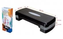 Степ-платформа P-750 (пластик, р-р 68x28x10+5см, черный-серый)