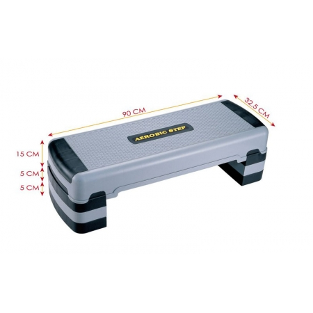Степ-платформа P-780 (пластик, р-р 90x32,5x15+5+5см, серый-черный)