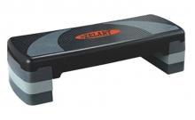 Степ-платформа ZEL FI-3589 (пластик, покрытие TPR, р-р 78Lx29Wx10H+5+5см, черный-серый) T002