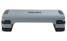 Степ-платформа ZEL FI-3592 (пластик, покрытие TPR, р-р 80Lx31Wx10H+5+5см, серый-черный) T007