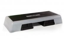 Степ-платформа ZEL FI-4732 (пластик, покрытие TPR, р-р 98Lx38Wx15H+5+5см, черный-серый) CDT008
