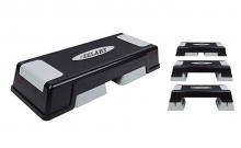 Степ-платформа ZEL FI-4733 (пластик, покрытие TPR, р-р 70Lx28Wx12H+5+5см, черный-серый) CDT010