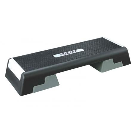 Степ-платформа ZEL FI-4734 (пластик, покрытие TPR, р-р 98Lx38Wx15H+5+5см, черный-серый) CDT015