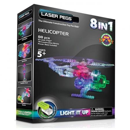Светящийся конструктор Laser Pegs Вертолет, набор 6 в 1 (1270b)