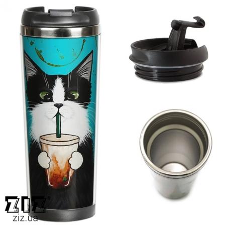 Термокружка Кот со стаканом, ZIZ-21054