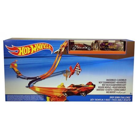 Трек Супергонки набор №1, Hot Wheels, Mattel, 2 машинки, фиолетовая и в клетку, DNN81-1