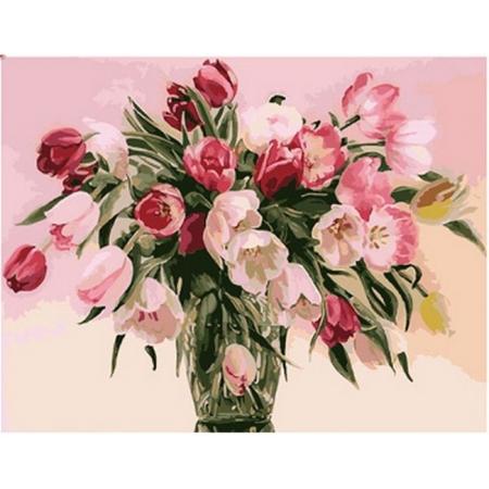 Тюльпаны в вазе, Серия Букет, рисование по номерам, 40 х 50 см, Идейка, Тюльпы в вазе (KH1072)