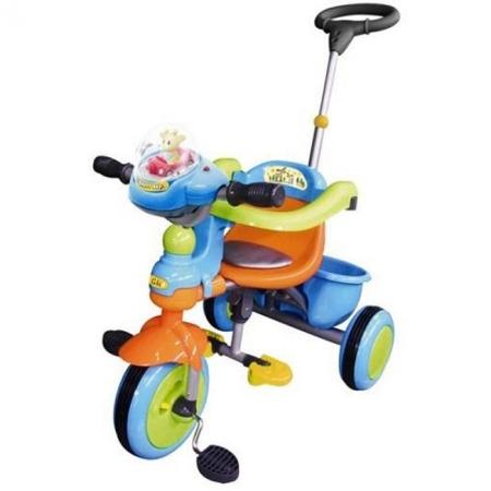 Велосипед 3-колесный с ручкой, оранжево-синий, TCV T101B O-A