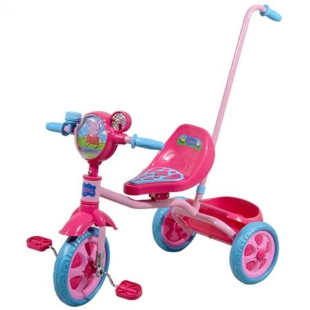 Велосипед детск. 3-х колесный лицензионный-PEPPA (ручка, массаж. сидение, звонок, корзина, пропеллер) (Т57572)