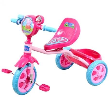 Велосипед детский 3-х колесный лицензионный - PEPPA (массажное сиденье, звонок, корзина, пропеллер) (Т57573)