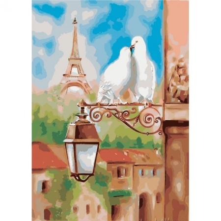 Весна в Париже, серия Городской пейзаж, рисование по номерам, 40 х 50 см, Идейка, Весна в Париже (KH2128)