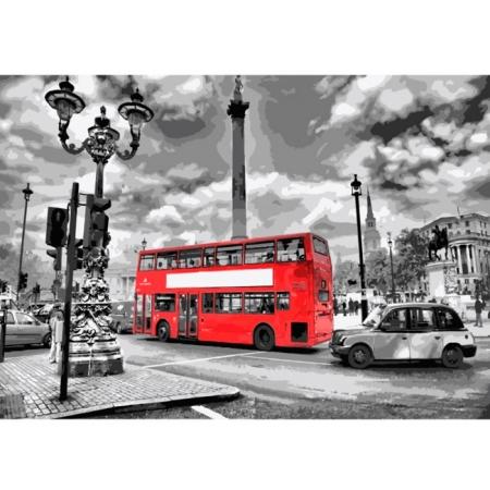 Яркий автобус, Серия Городской пейзаж, рисование по номерам, 40 х 50 см, Идейка, КН2146