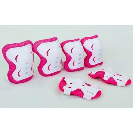 Защита детская наколенники, налокотники, перчатки SK-6328P-M (р-р M-8-12лет, розовый-белый)
